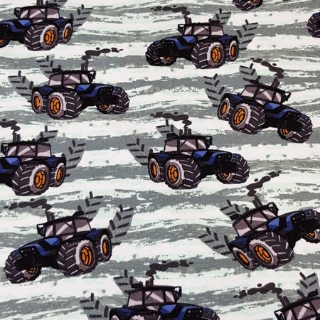 Mutsaers Textiles Tricot French Terry Cool Boys tractor donker mint 155 cm breed