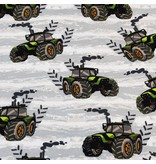 Mutsaers Textiles Tricot French Terry Cool Boys tractor ecru 155 cm breed