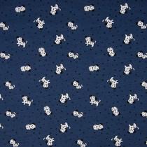 Tricot stof QjuTie puppy dots donkerblauw katoen jersey