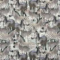 Tricot stof QjuTie digitaal bedrukt zebra katoen jersey