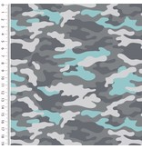 Mutsaers Textiles Tricot French Terry cool boys army legerprint grijs 155 cm breed