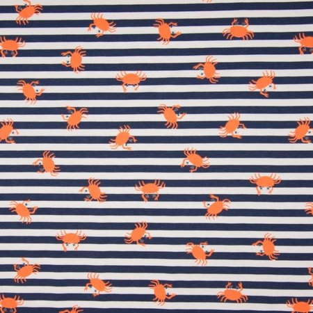 Qjutie Kids Collection Tricot stof QjuTie krab oranje navy katoen jersey 150 cm breed