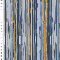Tricot French Terry modern stripes oker blauw
