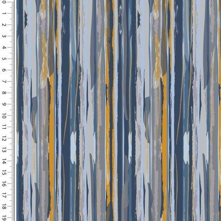 Mutsaers Textiles Tricot French Terry modern stripes oker blauw 150 cm breed
