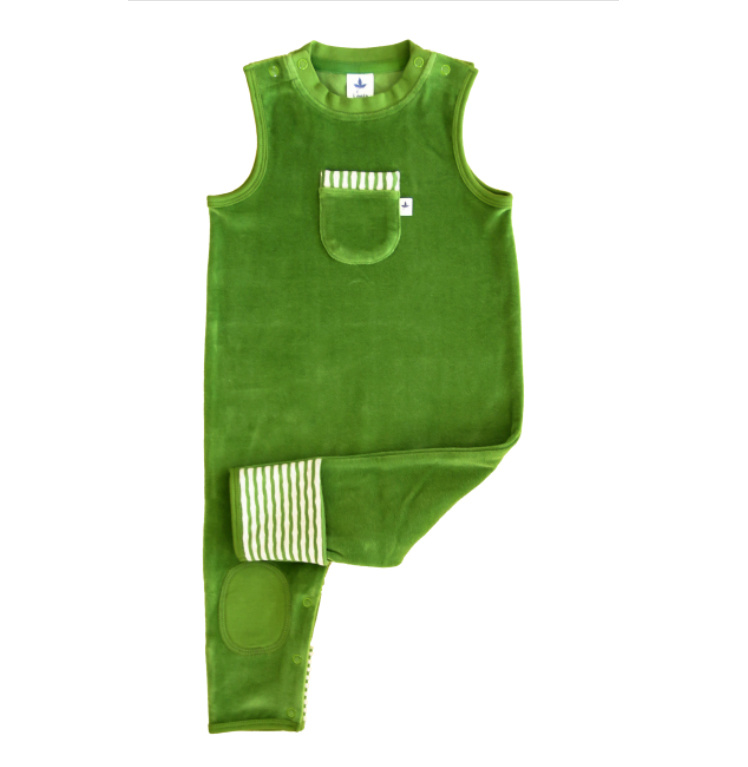 Leela Cotton Kuscheliger Nickystrampler waldgrün, kbA Baumwolle