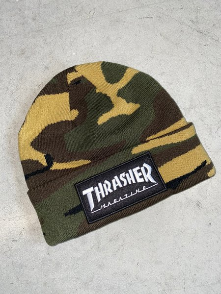 Thrasher Logo Patch Beanie Camo