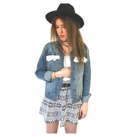 Liv Schwarz Denim Jacket with cotton trimmings