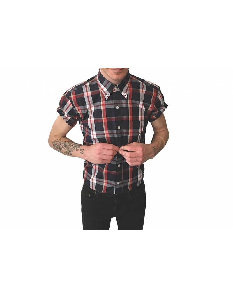 Relco London Kariertes Hemd mit Halbarm