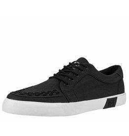 T.U.K. Footwear T.U.K. Shoes Black Waxed Canvas White Sole VLK Creeper Sneaker