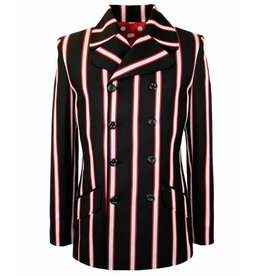 Madcap England HOWL DOUBLE BREASTED BOATING BLAZER JACKET IN BLACK/RED/WHITE