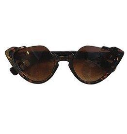 Sonnenbrille retro mit Katzenaugen braun leo