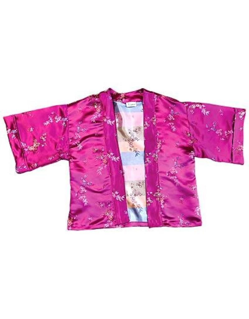 Liv Schwarz Kimono Jacke pink