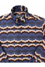 Madcap England NEWPORT WAVES MEN'S RETRO 70S MOD OP ART PRINT SHIRT