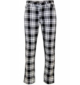 Madcap England SLIM LEG RETRO MOD TARTAN TROUSERS IN BLACK/WHITE