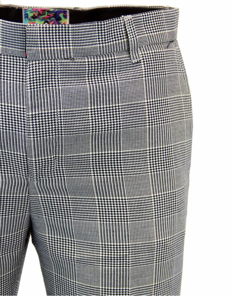 Madcap England JAGGER RETRO 1960S PRINCE OF WALES CHECK DRAINPIPE TROUSERS