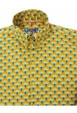 Madcap England PEACOCK -MEN'S MOD TRIPLE TOP BUTTON COLLAR PEACOCK FAN SHIRT IN YELLOW