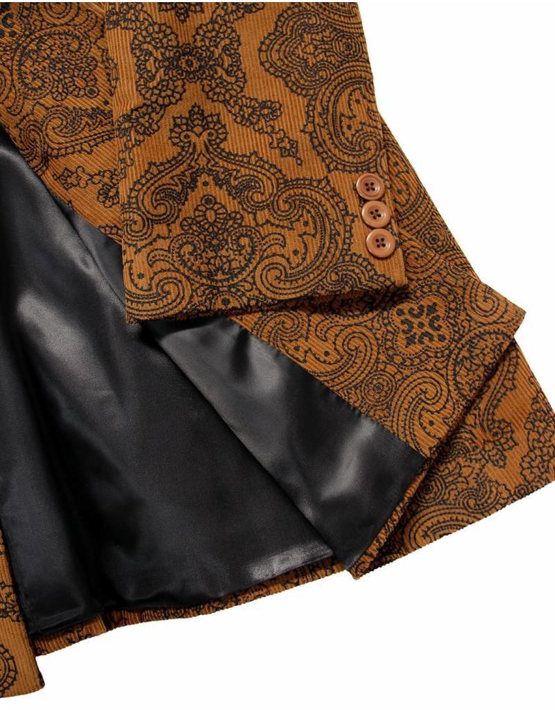 Madcap England THE PAISLEY CROWD - RETRO 60S MOD CORD DRESS JACKET IN TAN