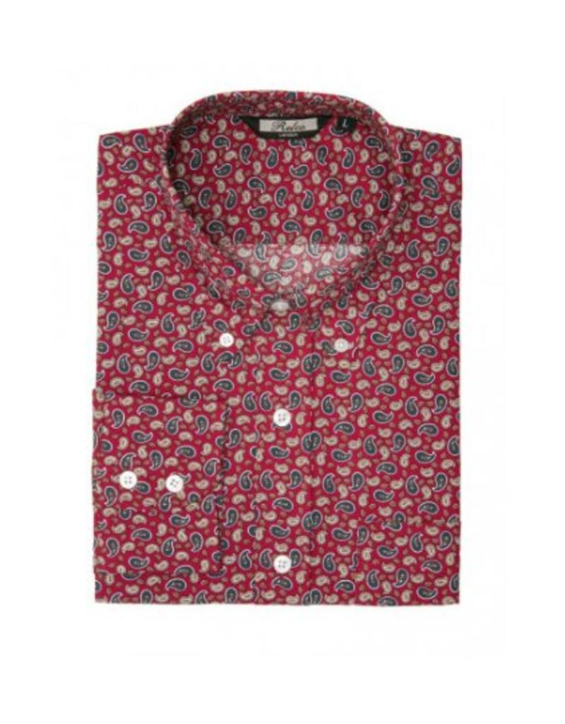Relco London Paisley Shirt Burgundy