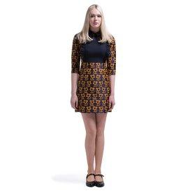 Marmalade Vintage Style Navy Blue/Mustard Brown Flower Pattern Dress