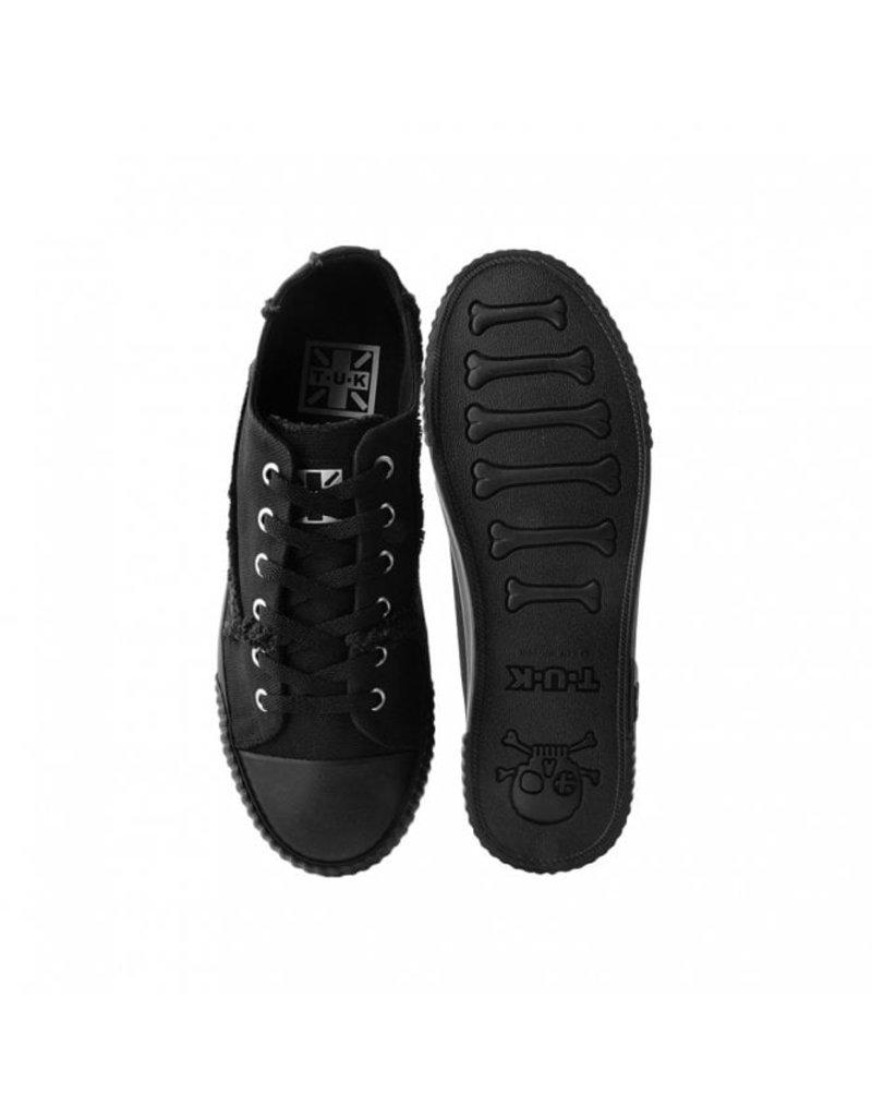 T.U.K. Footwear Shoes Black Raw Canvas Low Cut Sneaker
