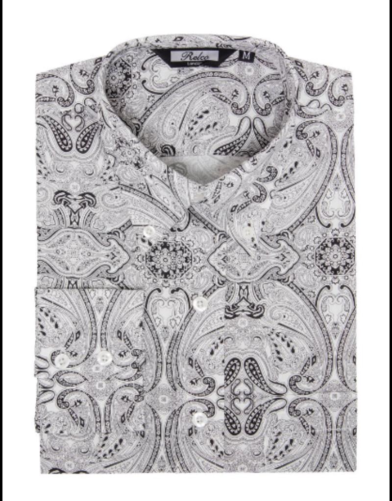 Relco London Hemd 'Vintage in schwarz/weiß