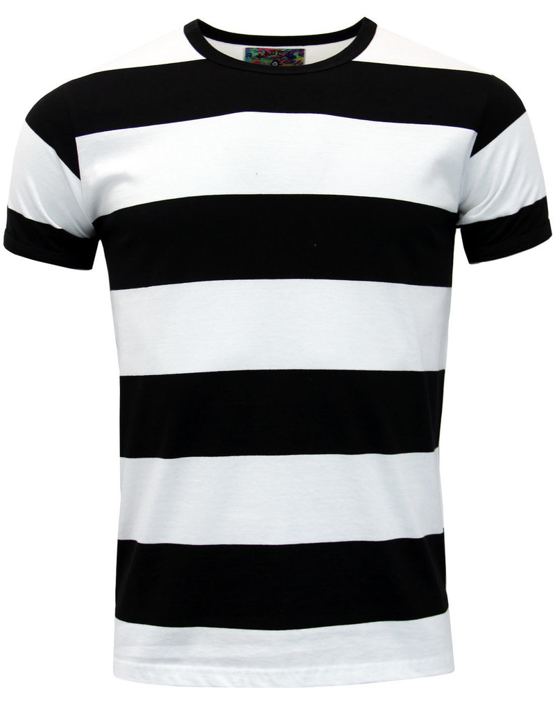 Madcap England T-Shirt mit breiten Streifen in schwarz/weiß