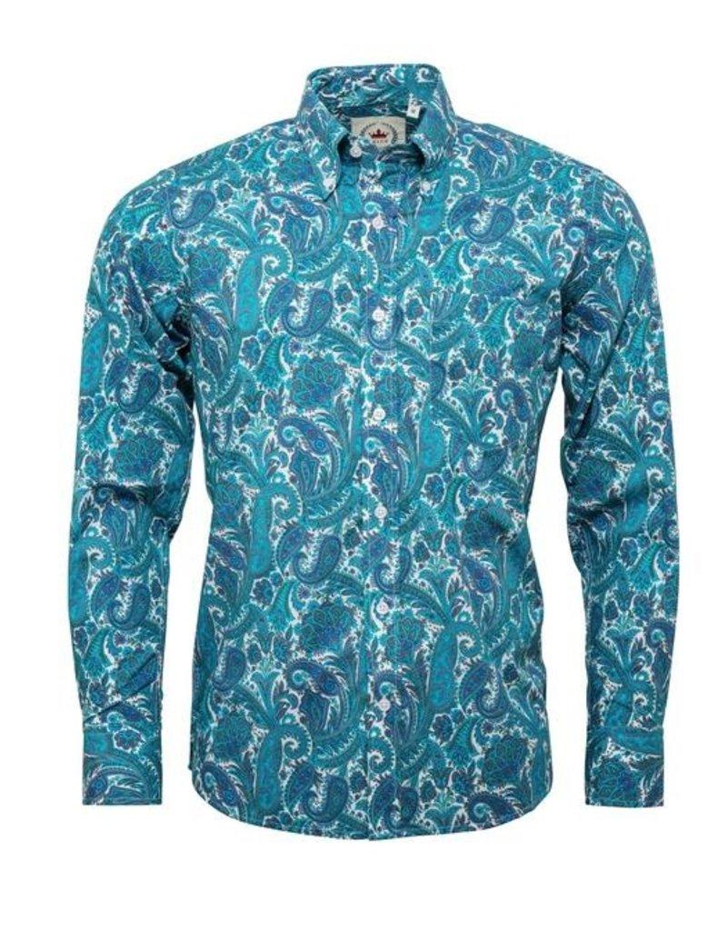 Relco London Paisleyhemd ocean blue