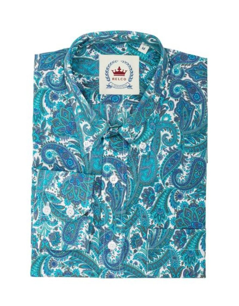 Relco London Turquoise Paisley Shirt