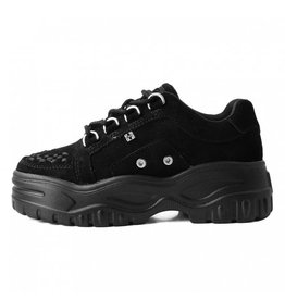 T.U.K. Footwear Black suede wave platform