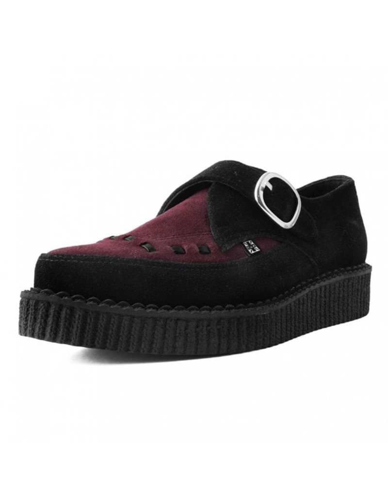 T.U.K. Footwear Suede Monk Buckle Pointed Creeper in Black and Burgundy