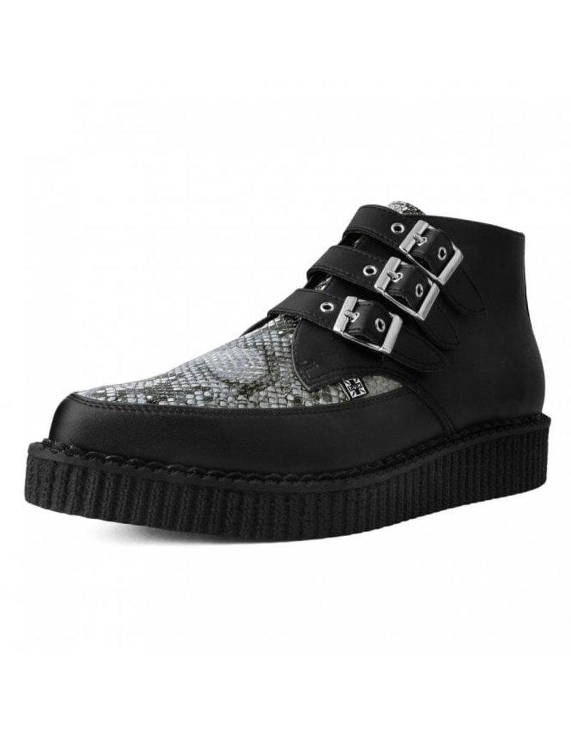 T.U.K. Footwear Grey Vegan Snakeskin 3-Buckle Pointed Boot