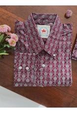 Relco London Hemd mit Blumenmuster in bordeaux