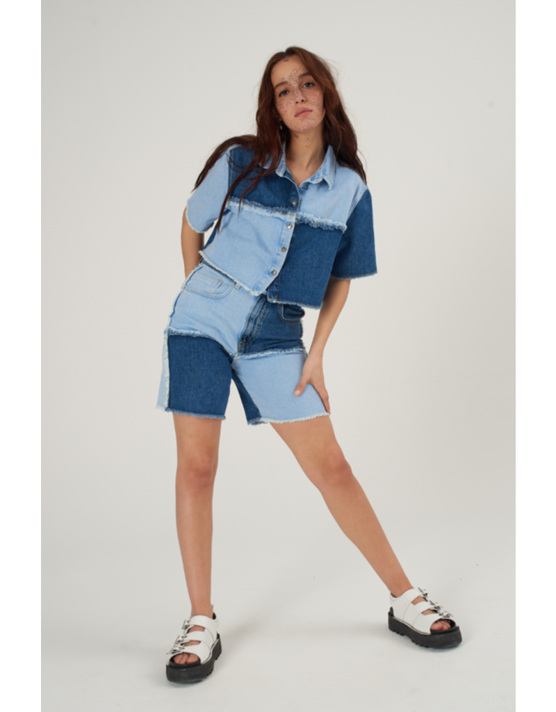 The Ragged Priest Jeans Shorts Patchwork