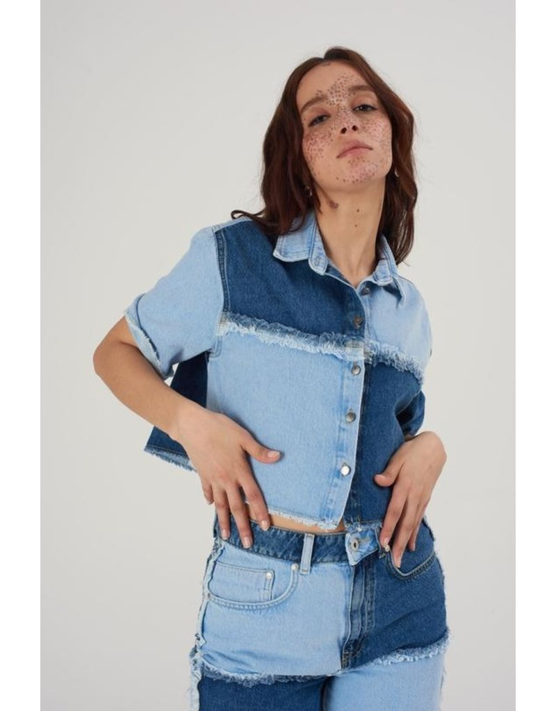 The Ragged Priest Jeans Hemd Patchwork