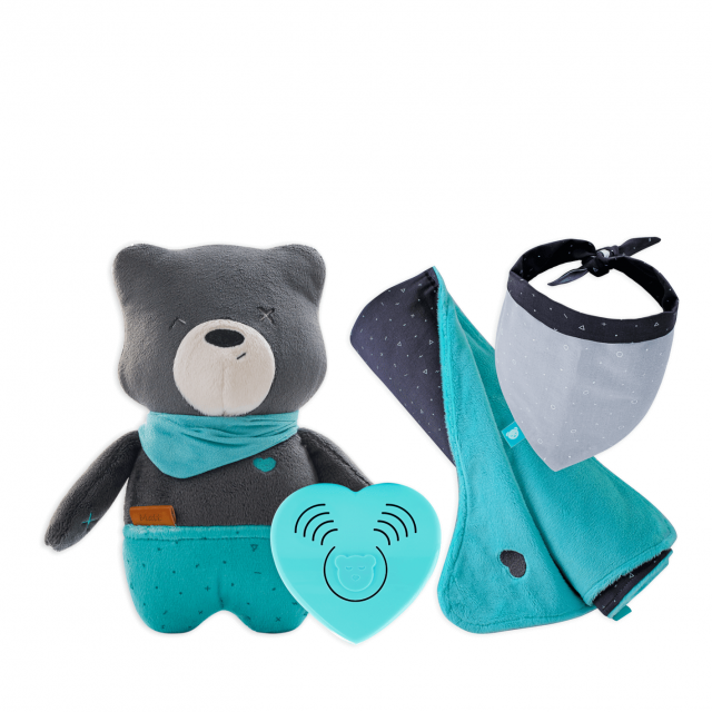 myHummy Lot ourson avec capteur de sommeil et couvertures préférées + bandana
