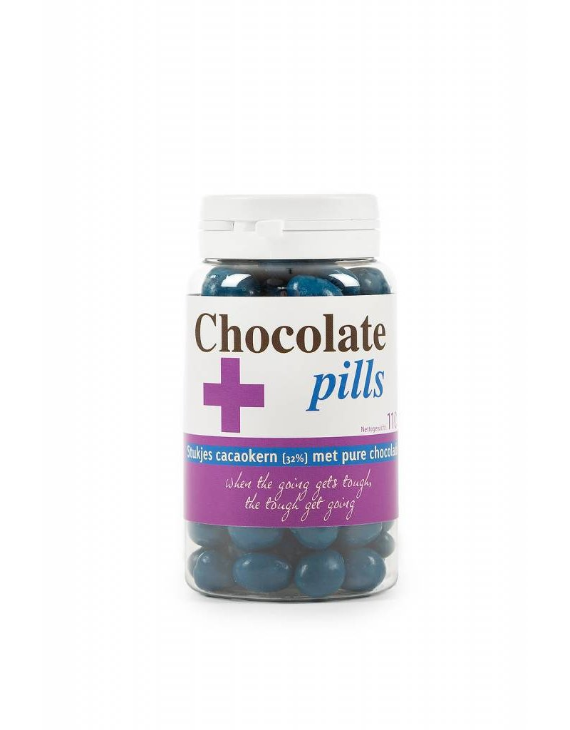 Chocolate pills with cocoa nibs