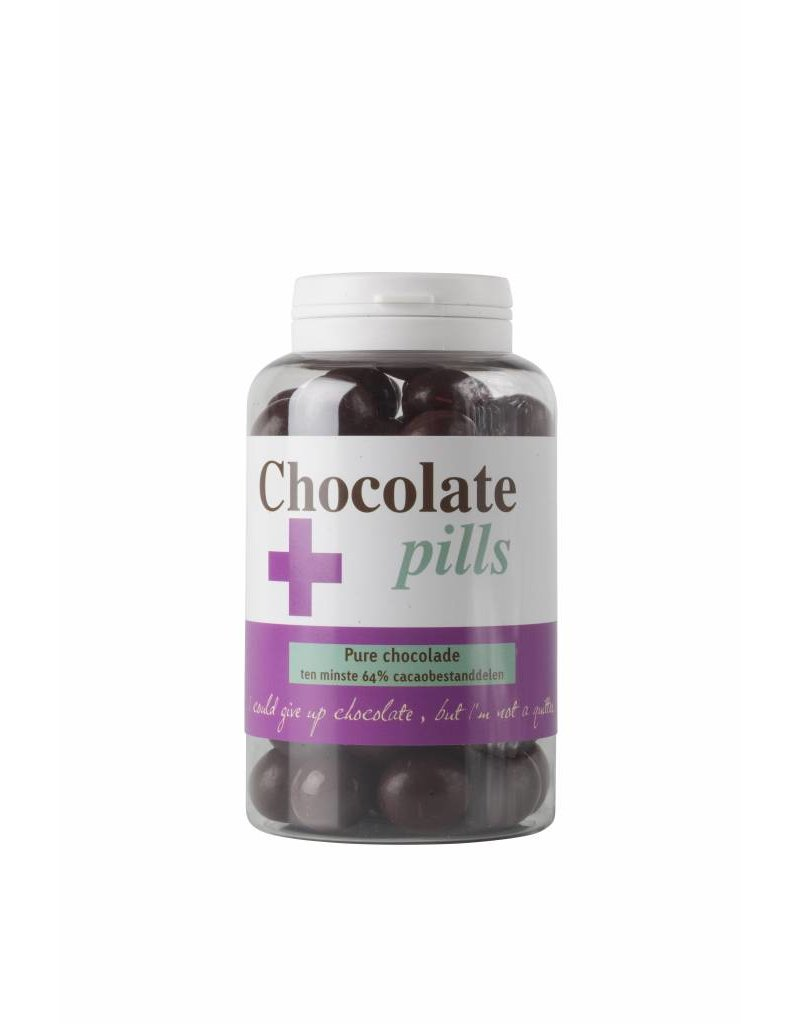 Chocolate pills with dark chocolate