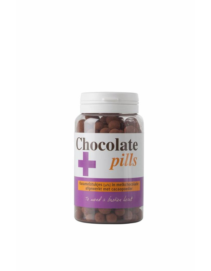 Chocolate pills with caramel