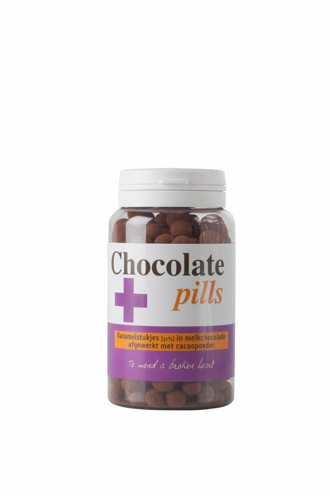 Chocolate pills with caramel