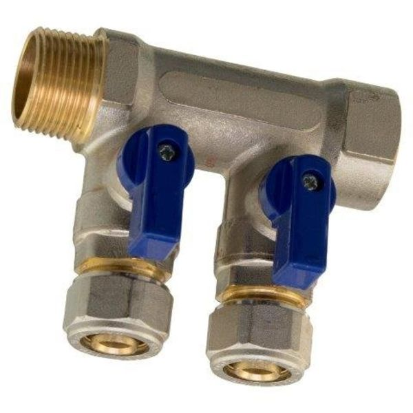 "Iezy Verdeler  knelkoppeling 3/4"" x 16-2.0 kraantjes /verdeler knel– waterleiding / meerlagenbuis – CV & Sanitair - messing"