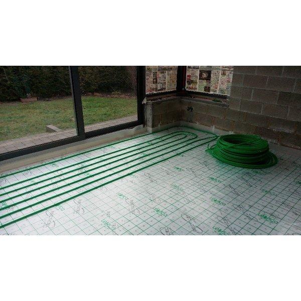 """Superpipe Vloerverwarming  CV """"the Green Pipe"""" 22m² tot  33m² het tacker systeem"""