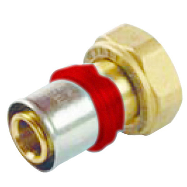 """Iezy Pers adapter  1/2""""- 16-2.0  flat  recht   / rechte  adapter   waterleiding / meerlagenbuis – CV & Sanitair - messing - Copy"""