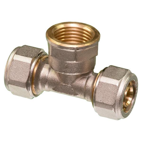 """Iezy T - koppeling  knel 3/4""""F x 26-3.0  t-koppeling  /  waterleiding / meerlagenbuis – CV & Sanitair - messing"""