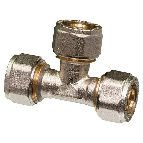 Iezy T - koppeling  knel 26 x 26 x 26-3.0   t-koppeling  /  waterleiding / meerlagenbuis – CV & Sanitair - messing
