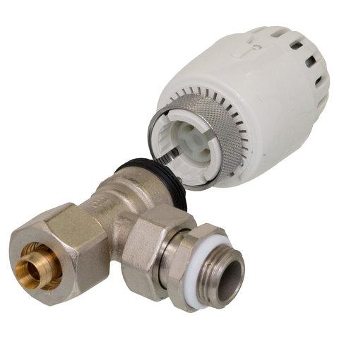 Thermostatische haakse kraan 1/2-16.20 met knop meerlagenbuis