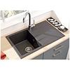Spoelbak zwart 1bak/ composiet / zwart gespikkeld grafieti keukenspoelbak /  Noa keukenspoelbak