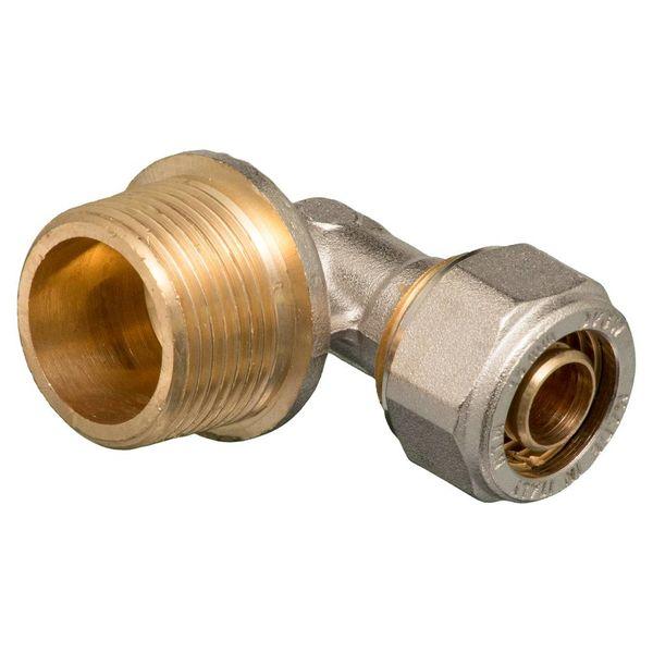 """Iezy Knel kniekoppeling 1/2""""M x 16-2.0 haaks - knie / haakse koppeling – waterleiding / meerlagenbuis – CV & Sanitair - messing"""