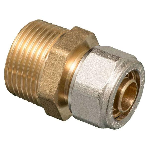 """Iezy Knel rechte koppeling 3/4""""M X 20-2.0 recht  / rechte  koppeling – waterleiding / meerlagenbuis – CV & Sanitair - messing"""