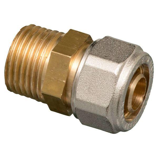 """Knel rechte koppeling 1/2""""M x 16-2.0 recht  / rechte  koppeling – waterleiding / meerlagenbuis – CV & Sanitair - messing"""