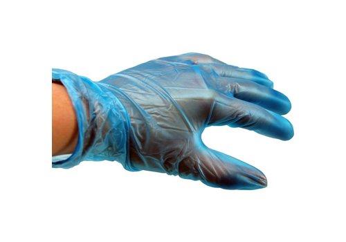 Blauwe Vinyl Handschoen gep. - 100 stuks
